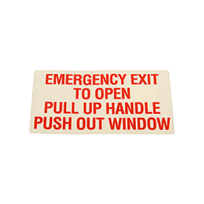 Picture of Push Out Window - Emergency Exit Decal Part# 10005804