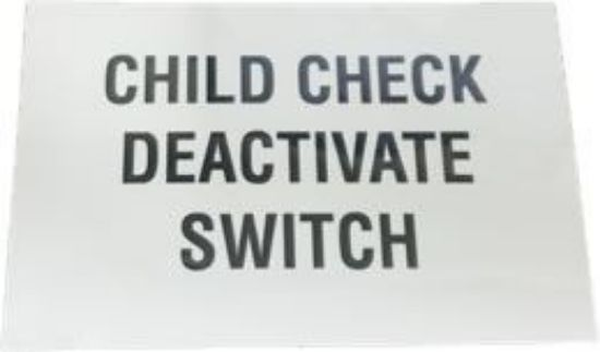 Picture of Child Check Deactivate Switch Decal Part#00116158